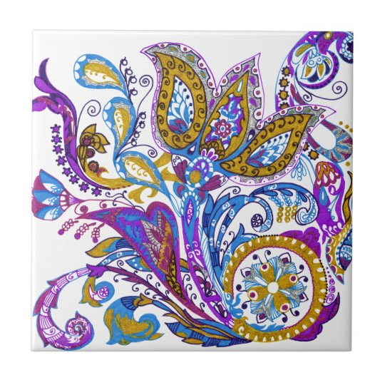 Elegant wedding ornament. Stylish paisley design Ceramic Tile