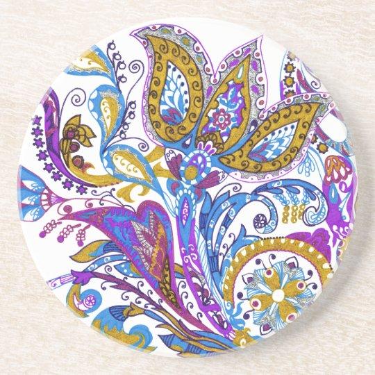 Elegant wedding ornament. Stylish paisley design Coaster