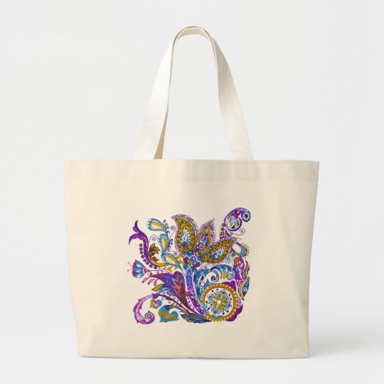Elegant wedding ornament. Stylish paisley design Large Tote Bag