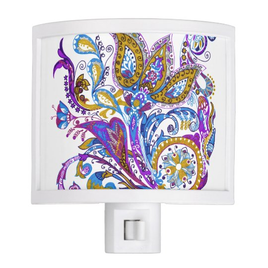 Elegant wedding ornament. Stylish paisley design Night Light