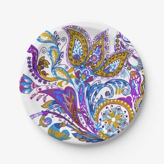 Elegant wedding ornament. Stylish paisley design Paper Plate
