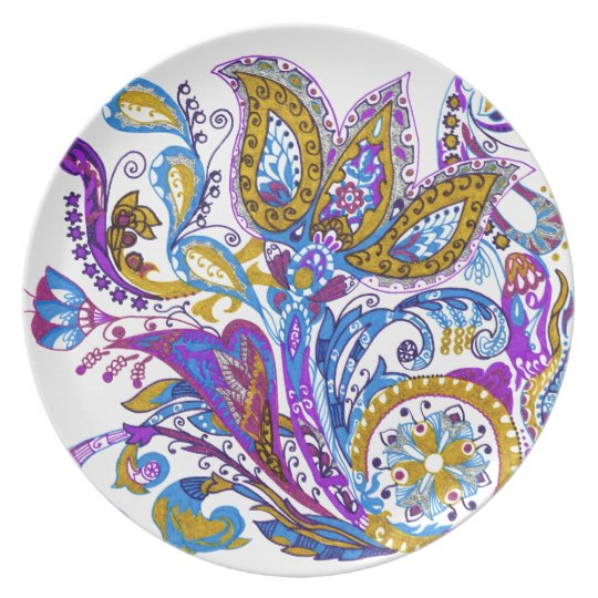 Elegant wedding ornament. Stylish paisley design Plates