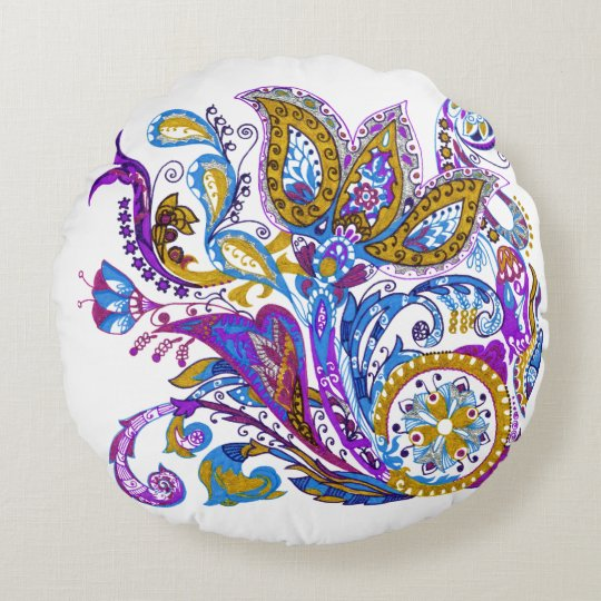 Elegant wedding ornament. Stylish paisley design Round Pillow