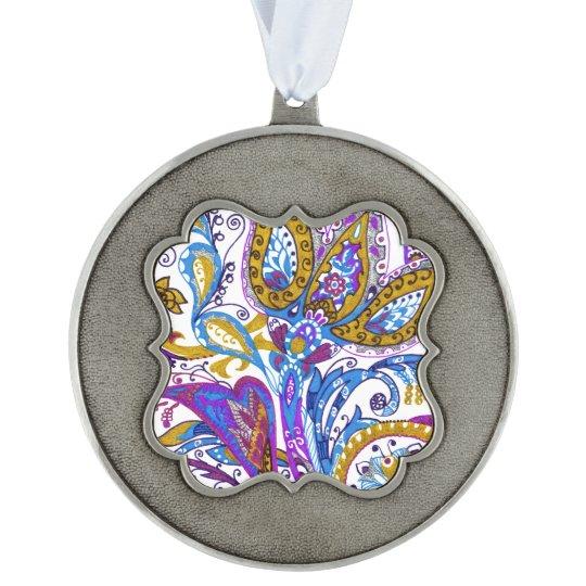 Elegant wedding ornament. Stylish paisley design Scalloped Pewter Ornament