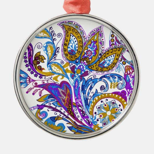 Elegant wedding ornament. Stylish paisley design Silver-Colored Round Ornament