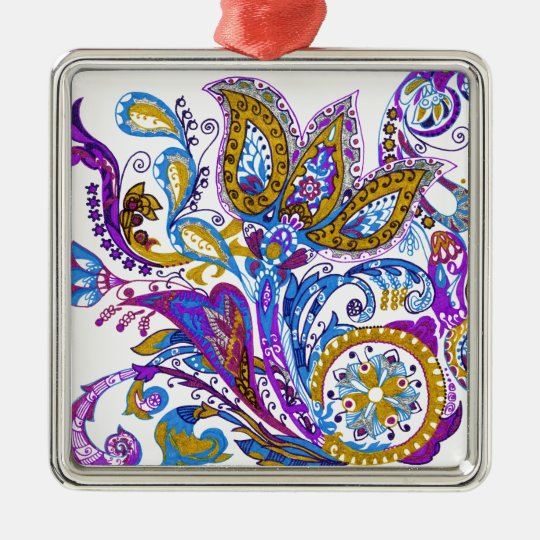 Elegant wedding ornament. Stylish paisley design Silver-Colored Square Ornament