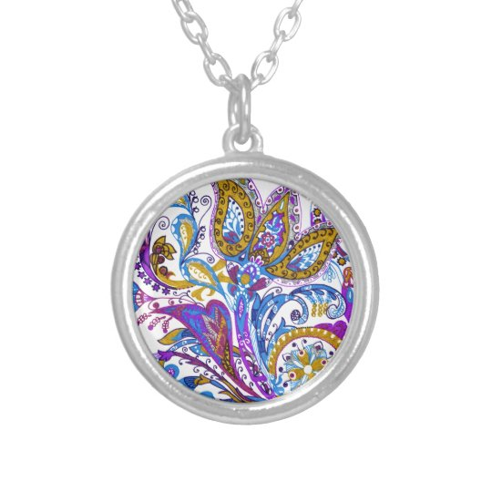 Elegant wedding ornament. Stylish paisley design Silver Plated Necklace