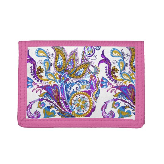 Elegant wedding ornament. Stylish paisley design Tri-fold Wallet