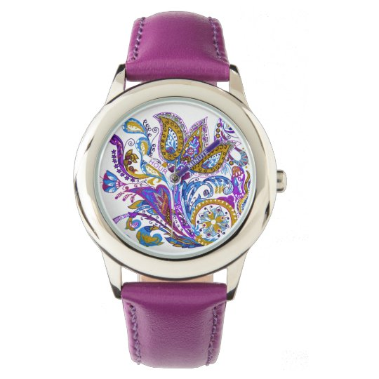 Elegant wedding ornament. Stylish paisley design Wristwatch