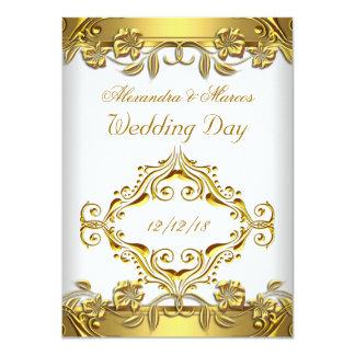 Elegant Wedding Ornate Floral White Gold 2 Invites