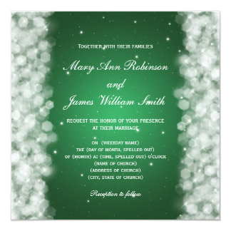 "Elegant Wedding Party Sparkle Emerald Green 5.25"" Square Invitation Card"
