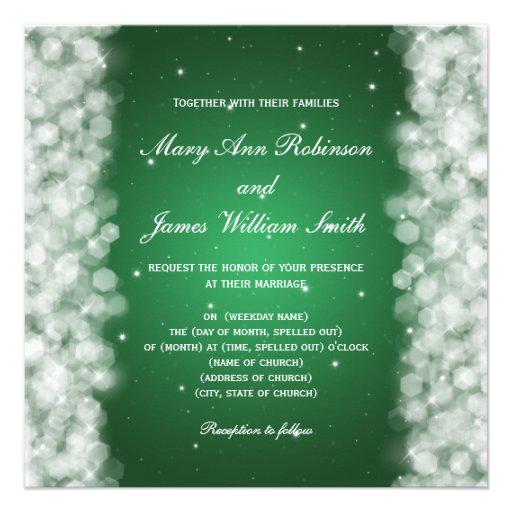 Elegant Wedding Party Sparkle Emerald Green Custom Invite