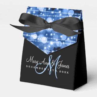 Elegant Wedding Party Sparkles Blue Party Favor Boxes