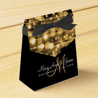 Elegant Wedding Party Sparkles Gold Favor Box