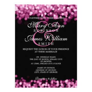 Elegant Wedding Pink Lights Invites
