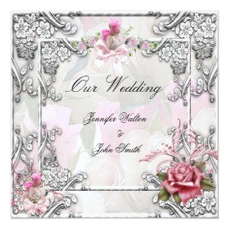 Elegant Wedding Pink Rose Silver White Card