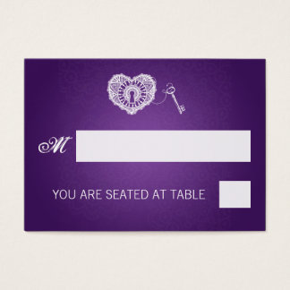 Elegant Wedding Placecards Key To My Heart Purple Business Card
