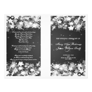 Elegant Wedding Program Dazzling Stars Black Custom Flyer