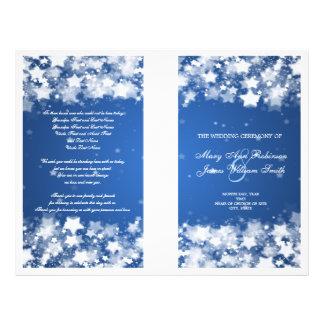 Elegant Wedding Program Dazzling Stars Blue Full Colour Flyer