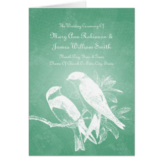 Elegant Wedding Program Love Birds Mint
