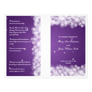 Elegant Wedding Program Party Sparkle Purple Personalized Flyer