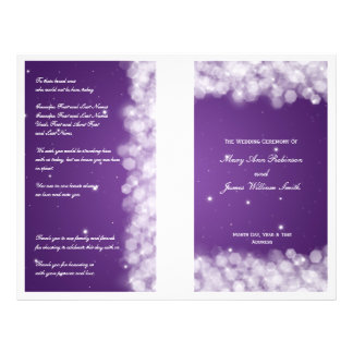 Elegant Wedding Program Party Sparkle Purple Personalized Flyer