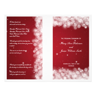 Elegant Wedding Program Party Sparkle Red Flyers