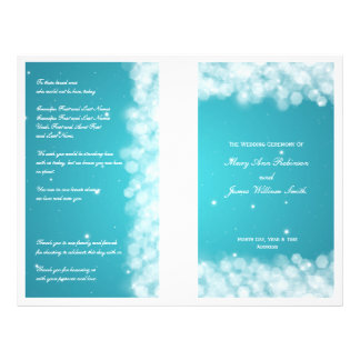 Elegant Wedding Program Party Sparkle Turquoise Full Color Flyer