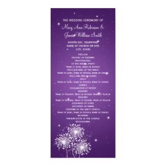 "Elegant Wedding Program Summer Sparkle Purple 4"" X 9.25"" Invitation Card"