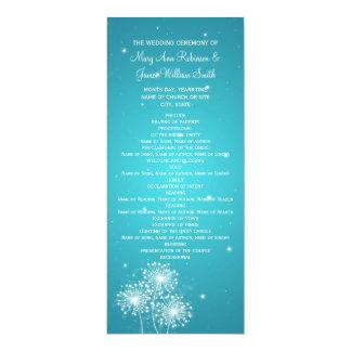 "Elegant Wedding Program Summer Sparkle Turquoise 4"" X 9.25"" Invitation Card"