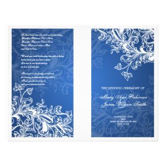 Elegant Wedding Program Vintage Swirls Blue Full Colour Flyer