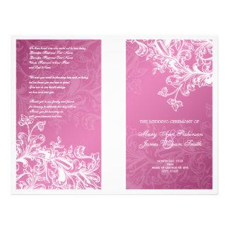 Elegant Wedding Program Vintage Swirls Pink Full Colour Flyer