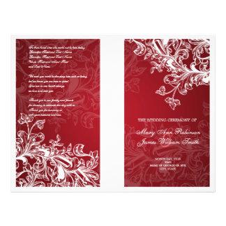 Elegant Wedding Program Vintage Swirls Red Flyer