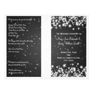 Elegant Wedding Program Winter Sparkle Black Full Colour Flyer