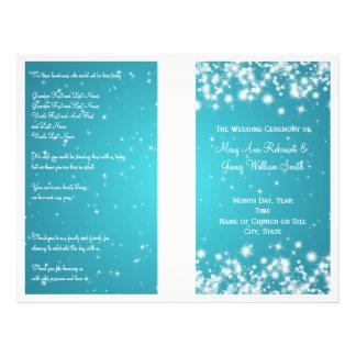Elegant Wedding Program Winter Sparkle Blue Flyer Design