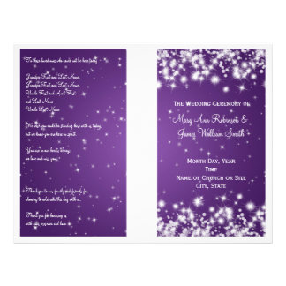 Elegant Wedding Program Winter Sparkle Purple Flyers