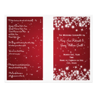 Elegant Wedding Program Winter Sparkle Red Flyer Design