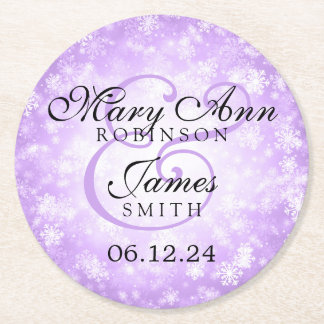 Elegant Wedding Purple Winter Wonderland Round Paper Coaster