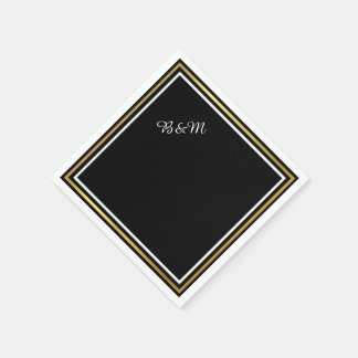 elegant wedding reception_party black simple paper napkin