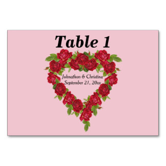 Elegant Wedding Red Rose Heart Wreath on Pink Card