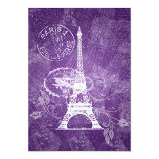 Elegant Wedding Romantic Paris Purple Card