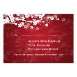 Elegant Wedding RSVP Cherry Blossom Red Custom Invitation