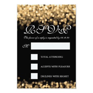 Elegant Wedding RSVP Gold Lights Card