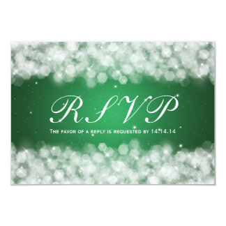 "Elegant Wedding RSVP Party Sparkle Emerald Green 3.5"" X 5"" Invitation Card"
