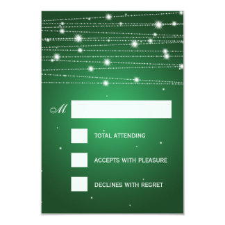 Elegant Wedding RSVP Sparkling Lines Emerald Green Card