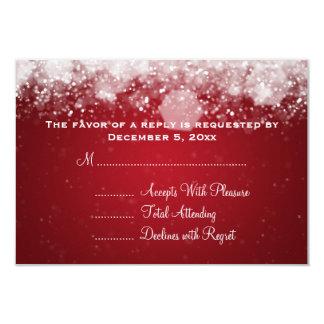 "Elegant Wedding RSVP Sparkling Night Red 3.5"" X 5"" Invitation Card"