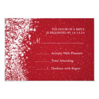 """Elegant Wedding RSVP Sparkling Wave Red 3.5"""" X 5"""" Invitation Card"""