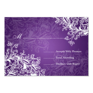 Elegant Wedding RSVP Vintage Swirls Purple Card