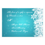 Elegant Wedding RSVP Winter Snowflakes Blue