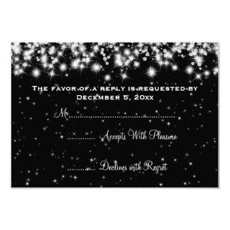 "Elegant Wedding RSVP Winter Sparkle Black 3.5"" X 5"" Invitation Card"